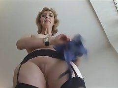 Blonde, British, Granny, Mature, Stockings