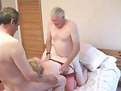 Cumshot, Group Sex, Mature, Stockings, Threesome