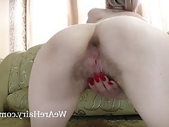 Blonde, Hairy, Small Tits, Stockings